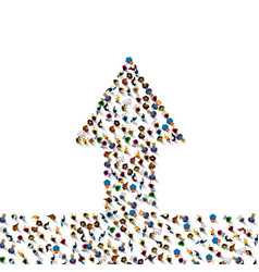 large group of people in grossing arrow vector image