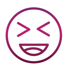 laugh close eyes funny smiley emoticon face vector image