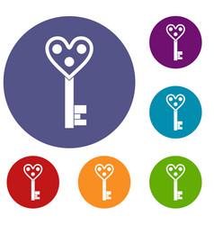 Love key icons set vector