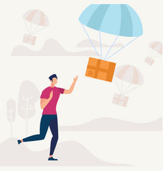 man run and catching parcel falling with parachute vector image