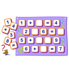 Mathematical exercises for kids on addition find vector