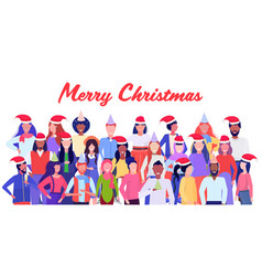 mix race people in santa claus hats standing vector image