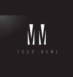 Mm letter logo with black and white negative vector