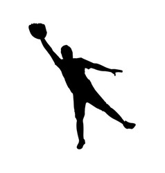 monochrome silhouette with baseball catcher vector image