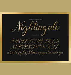 nightingale handdrawn calligraphic font vector image
