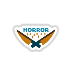 Paper sticker on background of knives horror vector