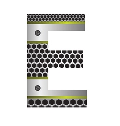 Perforated metal letter E vector