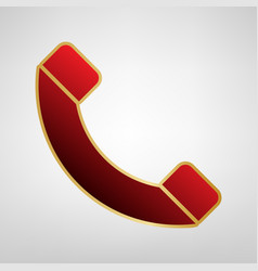 phone sign red icon on gold vector image