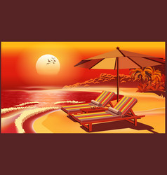 Picturesque beach umbrella and deck chairs at vector