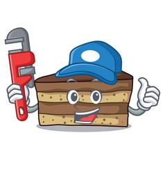 Plumber tiramisu mascot cartoon style vector