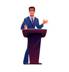 Politician at podium tribune speaks microphone vector