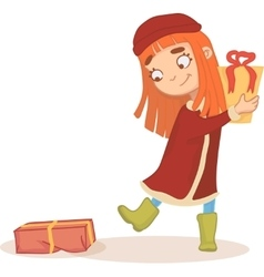 Red-haired girl with gifts in his hands vector