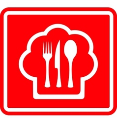 Red restaurant icon with cook hat and utensil vector