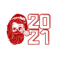 red skull icon with santa claus hat vector image