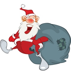 Santa Claus and sack full of gifts vector image vector image