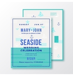 sea side wedding invitation card or ticket vector image