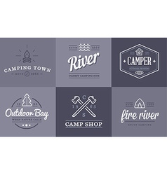 set camping camp elements and outdoor activity vector image