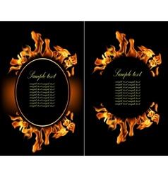 Set fire flame banner vector