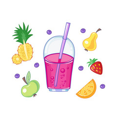Set of drink and fruits vector
