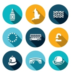 set united kingdom icons tower clock vector image