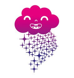 Silhouette happy cloud kawaii with stars rainbow vector