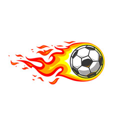 soccer ball in burning fire flames vector image