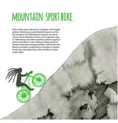 Sport bike poster with watercolor mountain vector