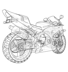 sports bike technical wire-frame eps10 format vector image