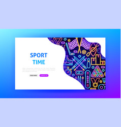 sports neon landing page vector image