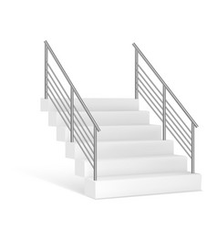 Stairs and stainless steel railing vector