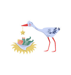 stork playing with little baby joyful kid laying vector image