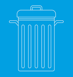 Trash can with lid icon outline style vector