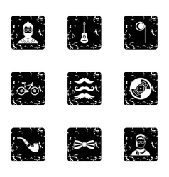 Trendy hipsters icons set grunge style vector