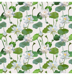 Vintage Waterlily Flowers Seamless Pattern vector