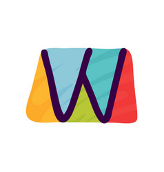 w letter logo in kids paper applique style vector image