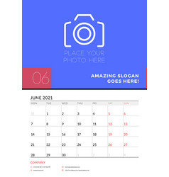 Wall calendar planner template for june 2021 week vector