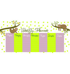 weekly planner with sloths and leaves graphics vector image