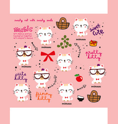 white cat doodle pattern vector image