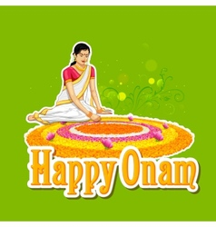Woman making rangoli for onam vector image