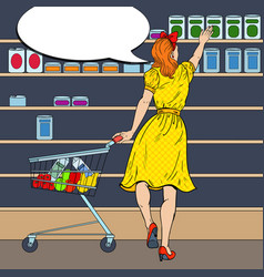 Woman shopping at the supermarket pop art vector