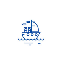 Yacht sailing line icon concept yacht sailing vector