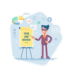 Year end review business concept vector