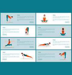 Yoga exercises web pages set vector