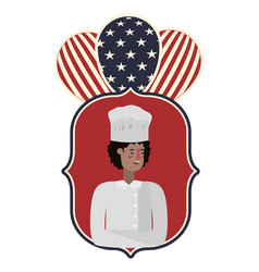 Young man chef celebrating labor day avatar vector