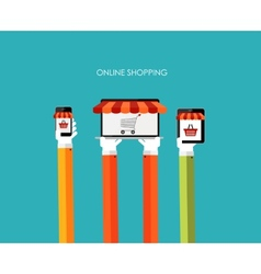 Online Shopping Flat Concept for Mobile Apps vector image vector image