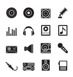 Silhouette Music and sound icons vector image vector image