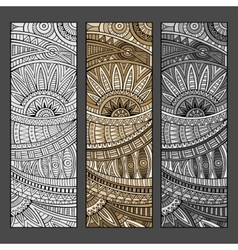 Abstract hand drawn ethnic pattern set vector image vector image