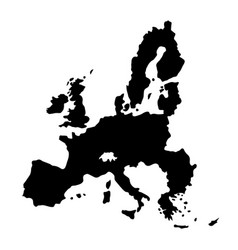 black silhouette country borders map of european vector image