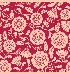 doodle style flowers seamless pattern vector image