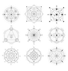 Geometry Symbols Black Thin Line Set vector image vector image
